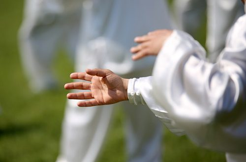 hand of martial arts master Tai Chi during the exhibition in public park
